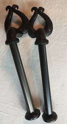 Forged Iron Black Rustic Curtain Pullbacks Set of Two 2  v15