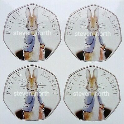 4 Beatrix Potter Peter Rabbit 2019 50p Decals/Stickers •FAST AND FREE POSTAGE•
