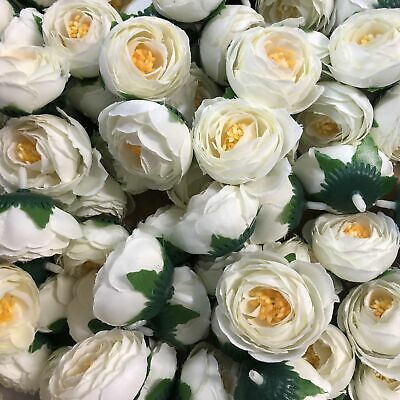 Artifical Silk Flower Heads - Ivory Peony Style 69 - 5 Pack
