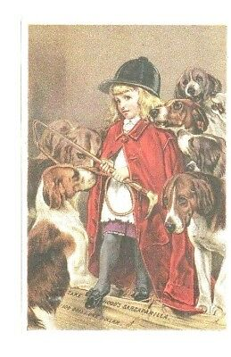 Trade Card  Hoods Sarsaparilla Patent Medicine Girl Riding Outfit w/ DOGS