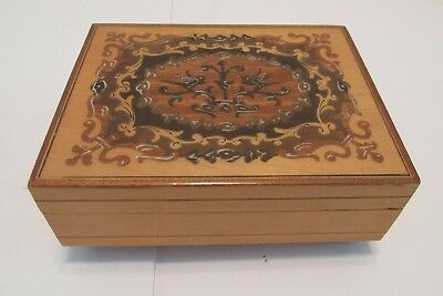 Vintage Inlaid Wood Jewelry Music Box Reuge Swiss Movement Lara's Theme