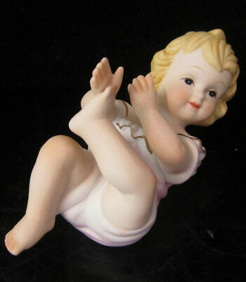 Vintage Porcelain Baby Piano Doll figurine bisque girl