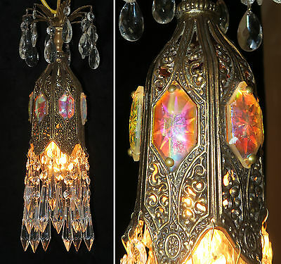 Jeweled Tulip lily SWAG Crystal lamp chandelier Vintage brass Aurora Borealis