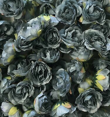 Artificial Silk Flower Heads - Dusty Blue Rose Style 64 - 5 Pack