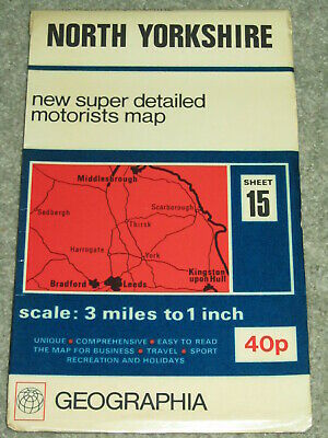 North Yorkshire: Super detailed Motorists map by Geographia - 1970s vintage