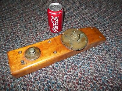 Antique / Vintage  PERKO Brass Power Switch mounted on Wood from Original Boat !