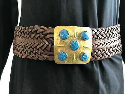 Funky 60'S Retro Belt Brown Plaited Leather Gold Clasp Blue Faux Jewel 28-32""