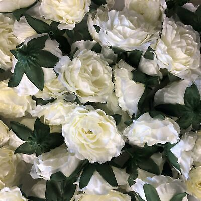 Artificial Silk Flower Heads - Ivory Rose Style 107 - 5 Pack