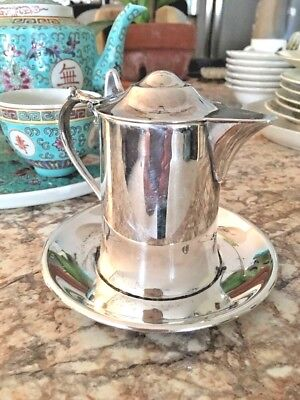 "Vintage Creamer Wallace M 616 w attached Plate Base Silver plate 3 1/2"" Tall"