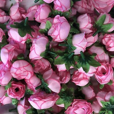 Artificial Silk Flower Heads - Pink Rose Style 100 - 5 Pack
