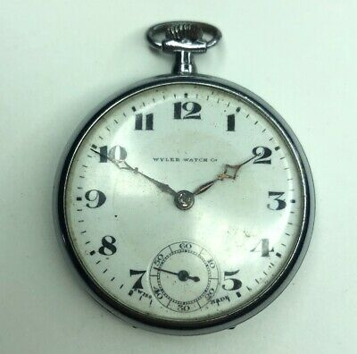 E Vtg Antique Wyler Watch Co 15 Jewels Pocket Watch Needs Repair Swiss Made