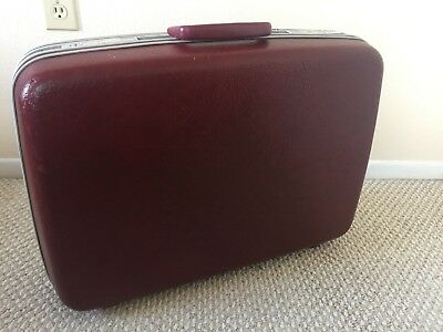 Vintage Samsonite Profile Burgundy Suitcase Luggage Hardcase  23 x 17 x 7