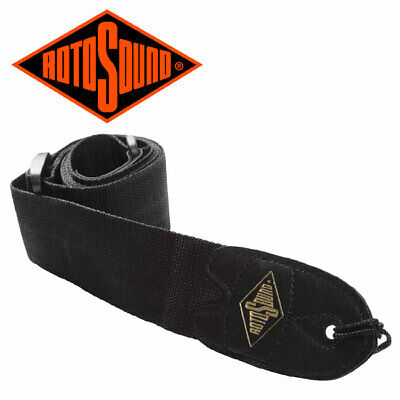 RotoSound STR1 Guitar Strap With Leather Ends For Electric/Acoustic/Bass - Black