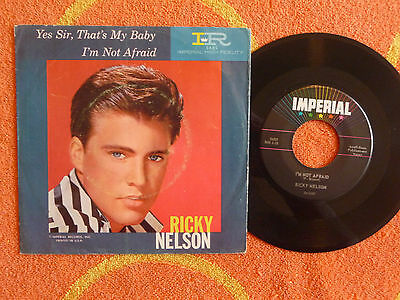 RICKY NELSON I'm Not Afraid 45 rpm w/ PICTURE SLEEVE Imperial 1960 Teen Pop