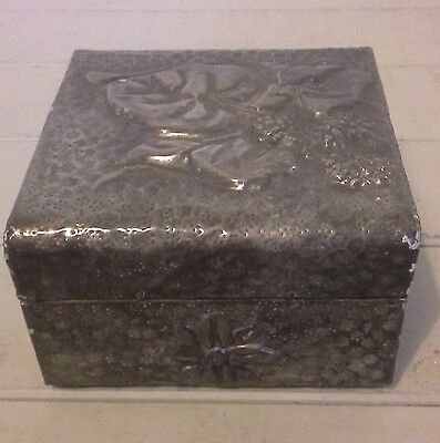 antique pewter box, pewter, metalware, antique