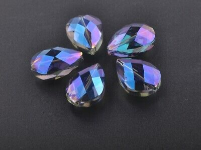 10pcs 24x17mm Teardrop Heart Faceted Crystal Glass Loose Beads Blue Colorized