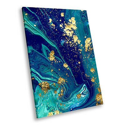ZAB1753 Orange Blue Teal Cool Modern Canvas Abstract Wall Art Picture Print