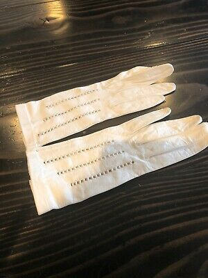 Washable Women's White Kid Leather Gloves Small Made In Italy Gorgeous Brand Nee