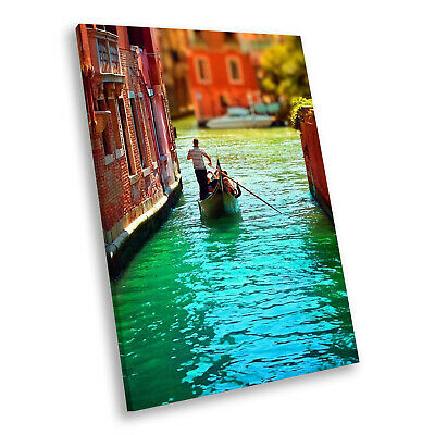 CANAL VENICE NIGHT CITYSCAPE GONDOLA BLACK FRAMED ART PRINT PICTURE B12X8453