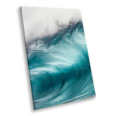 SC914 Blue White Grey Wave Nature Landscape White Wall Art Large Picture Prints