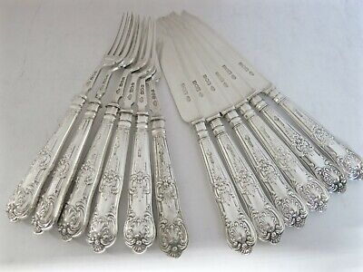 Queens Pattern Antique English Sterling Silver 6 Fish Knives & 6 Fish Forks.