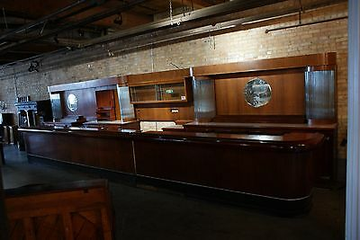 Art Deco Front and Back Full Bar Antique 37' Glass Rods Complete