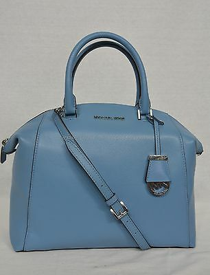 NWT! Michael Kors Riley Large Satchel/Shoulder Bag in Sky - Light Blue Leather
