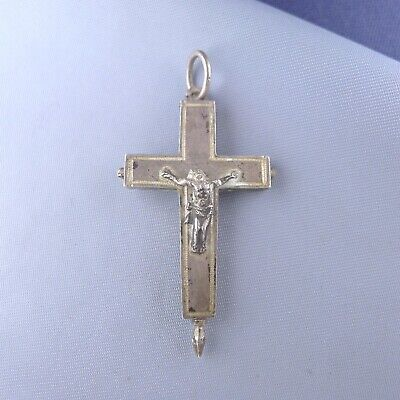 Antique Sterling Silver Reliquary Cross / Crucifix Pendant