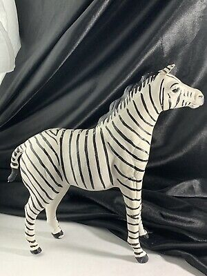 """Vintage Leather Horse Zebra Statue Toy Glass Eyes Collectible 12"""" Tall"""