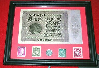 WW2 German Rare 5 Rp Coin & Stamps 100,000 banknote in frame