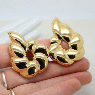 Statement 1980s Vintage Signed MONET Gold Pear Drop Clip On EARRINGS Jewellery