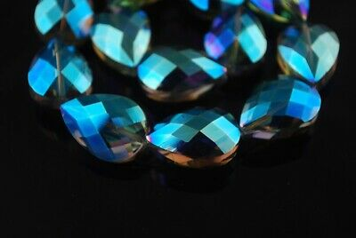 10pcs 24x17mm Teardrop Heart Faceted Crystal Glass Loose Beads Green Colorzied
