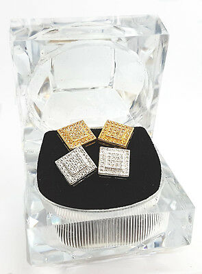 Crystal Iced Out Square Ear Stud Earrings Mens Women  - 2 Pairs Boxed