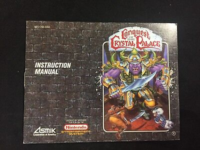 Conquest of the Crystal Palace Nintendo NES Authentic Manual Instruction Booklet