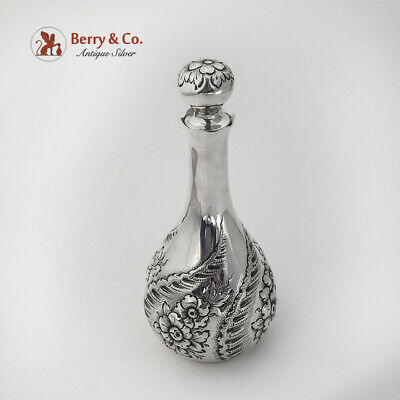 Repousse Floral Shell Perfume Cologne Bottle Sterling Silver 1900