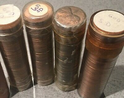 4 Rolls Of 1960 D Small Date Lincoln Memorial Cents From Penny Collection