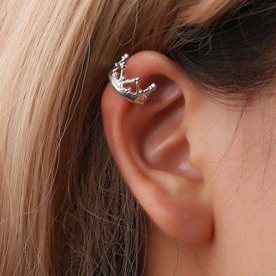 Womens Crown Ear Cuff Earrings Wrap Fashion Clip On Punk Rock Cuffs Fake Silver