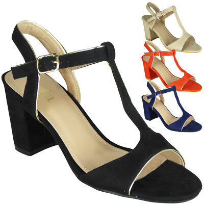 Womens Ladies Party Sandals Buckle Casual Work T-Bar Summer High Heel Shoes Size