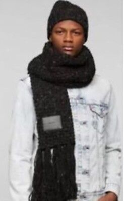 0550ed4ae7a Mens Urban Outfitters Bickley + Mitchell Black Knit Weave Scarf Hat Set  MSRP 160