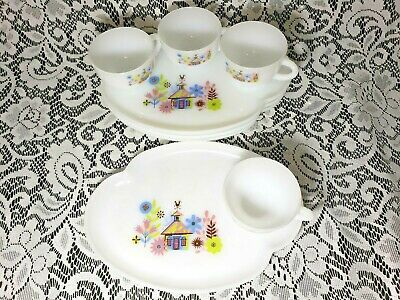 Vintage Federal Milk Glass CHALET Cup and Plate Snack Luncheon Sets  - 4 Sets