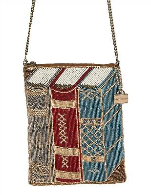 Victorian Trading Co NWOT Mary Frances Library Crossbody Purse Beaded Books 6C