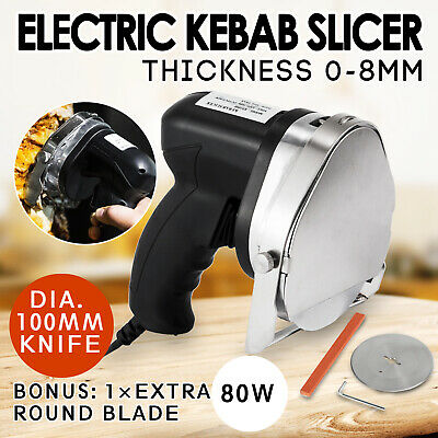 Kebab Cutter Meat Slicer Doner Electric Meat Cut 80W w/ 1 Extra10cm Blade