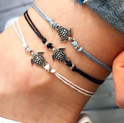 1pc Womens Turtle Ankle Bracelet Silver Anklet Foot Chain Beach String Kids UK