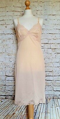 Vintage Charnos Silky Sheer Nude 100% Nylon & Lace Full Slip Size 14
