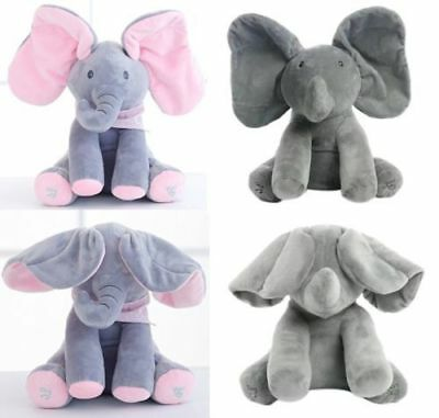 Peek-a-boo Singing Elephant Music Doll Plush Stuffed Toys Kids Birthday Gift -z