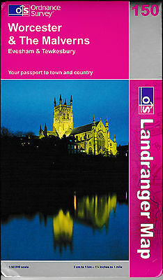 Ordnance Survey New Landranger Map 150 Worcester The Malverns Evesham Tewkesbury