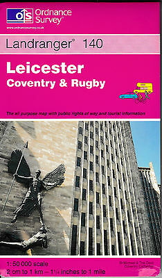 Ordnance Survey New Landranger Map 140 Leicester Coventry & Rugby Hinckley OS