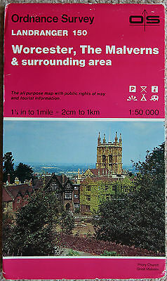 Ordnance Survey Landranger Map Sheet 150 Worcester, The Malverns Evesham 1984 OS