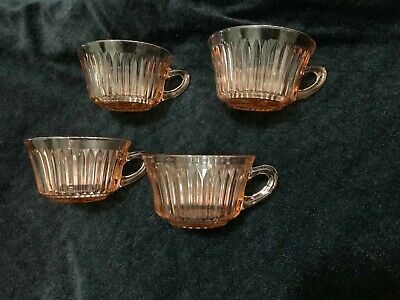 4 QUEEN MARY PINK Cups Only Round Handle ANCHOR HOCKING