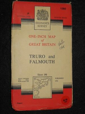 Vintage Ordnance Survey Map of Truro and Falmouth - 1961 - Sheet 190 - Cornwall